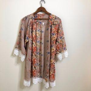 Floral Print & Lace Open Front Kimono Cardigan